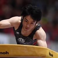 男子跳馬決勝で優勝した大久保圭太郎の1回目の演技=高崎アリーナで2019年6月23日、久保玲撮影