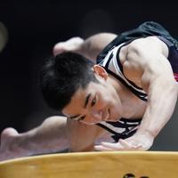 跳馬男子決勝で5位に終わった白井健三の2回目の演技=高崎アリーナで2019年6月23日、宮間俊樹撮影