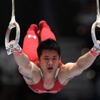 世界選手権日本代表に決まった神本雄也の男子つり輪決勝の演技=高崎アリーナで2019年6月23日、久保玲撮影