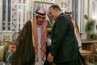 U.S. Secretary of State Mike Pompeo, right, meets with King Salman at Al Salam Palace in Jeddah, Saudi Arabia, on June 24, 2019. (AP Photo/Jacquelyn Martin, Pool)