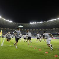 サッカー南米選手権【日本-エクアドル】試合前の日本の選手たち=ブラジル・ベロオリゾンテで2019年6月24日、AP