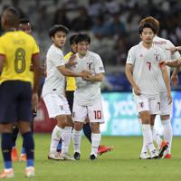 サッカー南米選手権【日本-エクアドル】前半、VARでゴールが認められ喜ぶ中島=ブラジル・ベロオリゾンテで2019年6月24日、AP