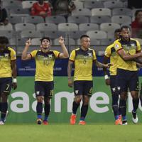サッカー南米選手権【日本-エクアドル】前半、エクアドルのメナがゴールを決め同点に追いつく=ブラジル・ベロオリゾンテで2019年6月24日、AP