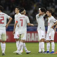 サッカー南米選手権【日本-エクアドル】無念の引き分けで、決勝T進出を逃し、落胆する日本の選手たち=ブラジル・ベロオリゾンテで2019年6月24日、AP