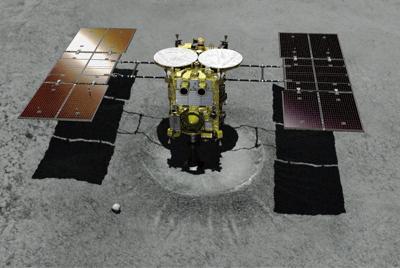 当初の計画では、探査機はやぶさ2は小惑星リュウグウにつくったクレーターの内部に着陸する予定だった(想像図)=JAXA提供