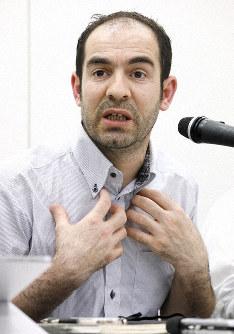Mehmet Colak speaks during a June 24, 2019 news conference in Tokyo's Minato Ward. (Mainichi/Akihiro Ogomori)