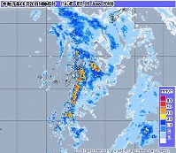 This image from the Japan Meteorological Agency website shows rain over the Okinawa region as of 2:45 p.m. on June 26, 2019.