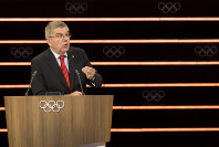 International Olympic Committee, IOC, President Thomas Bach from Germany speaks during the 134th Session of the International Olympic Committee (IOC), at the SwissTech Convention Centre, in Lausanne, Switzerland, on June 25, 2019. (Jean-Christophe Bott/Keystone via AP)
