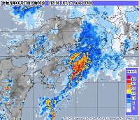 This image from the Japan Meteorological Agency website shows precipitation over western Japan as of midday on June 27, 2019.