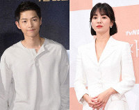 Song Joong-ki, left, and Song Hye-kyo (Chosun Ilbo photo)