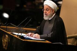 米国との直接対話が必要。写真はイランのロウハニ大統領(Bloomberg)