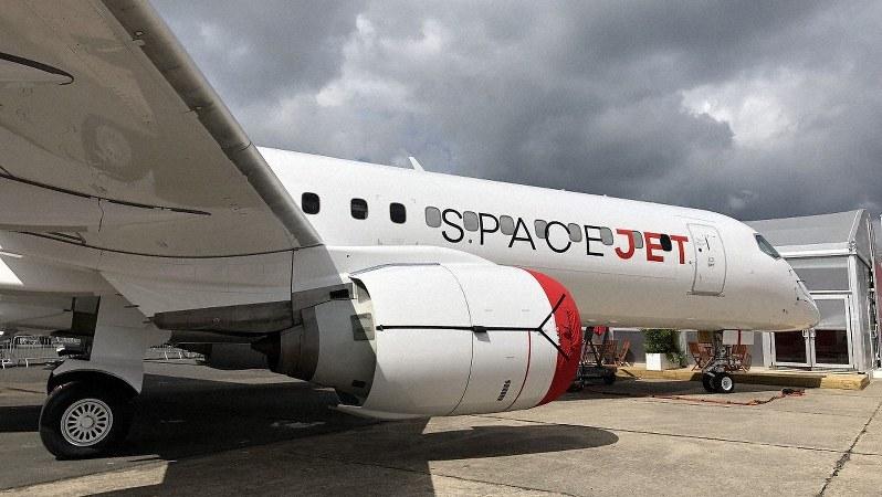 パリ航空ショーに参加した「スペースジェット」(三菱航空機提供)