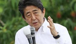 参院選が公示され、第一声を上げる自民党の安倍晋三総裁=福島市で2019年7月4日午前10時55分、小川昌宏撮影