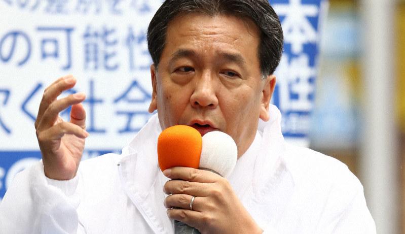 参院選が公示され、第一声を上げる立憲民主党の枝野幸男代表=東京都新宿区で2019年7月4日午前10時39分、佐々木順一撮影
