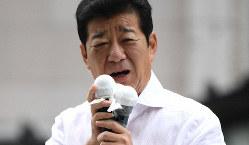 参院選が公示され、第一声を上げる日本維新の会の松井一郎代表=大阪市中央区で2019年7月4日午前10時44分、久保玲撮影