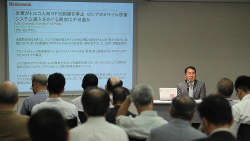講演する元空将の尾上定正氏=東京都千代田区の毎日ホールで2019年7月2日、玉城達郎撮影
