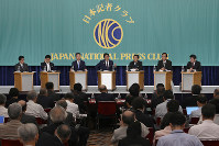 The leaders of seven main political parties are seen during a debate held at the Japan National Press Club in Tokyo's Chiyoda Ward, on July 3, 2019. Constitutional revisions have emerged as a key point of contention during the ongoing campaign for the July 21 House of Councillors election. (Mainichi/Tatsuya Fujii)