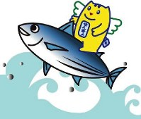 Meisui-kun riding on top of a bonito, from the city of Kochi