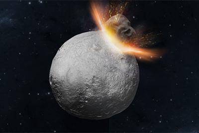 小惑星「ベスタ」で45億2500万年前に起こった巨大衝突のイメージ=東京工業大の羽場麻希子助教提供
