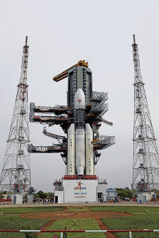 This July 2019 photo released by the Indian Space Research Organization (ISRO) shows its Geosynchronous Satellite Launch Vehicle (GSLV) MkIII-M1 being prepared for its July 15 launch in Sriharikota, an island off India's southeastern coast. (Indian Space Research Organization via AP)
