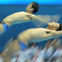 男子シンクロ板飛び込み予選、坂井丞、寺内健(右)組の3回目の演技=韓国・光州で2019年7月13日、宮武祐希撮影