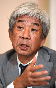 Hiroshi Osaki, chairman of Yoshimoto Kogyo Holdings Co., is seen in an interview with the Mainichi Shimbun on July 12, 2019. (Mainichi/Taro Fujii)