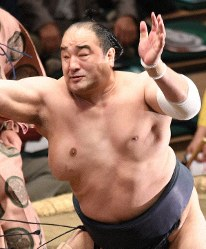 Aminishiki is seen in the Ryogoku Kokugikan hall in Tokyo on May 15, 2018. (Mainichi/Hiroshi Maruyama)
