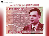 In this undated handout provided by the Band of England on July 15, 2019, a view of the the concept of the new 50 pound note bearing the image of Second World War code-breaker Alan Turing. The Bank of England has chosen codebreaker and computing pioneer Alan Turing as the face of the country s new 50 pound note. (Bank of England via AP)