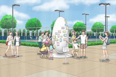 「復興五輪」の象徴として会場に設置されるモニュメントのイメージ。デザインは今後、決定される©Tokyo 2020(制作:LIXIL)