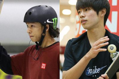 スケートボードの平野歩夢(左)と堀米雄斗