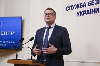 Ivan Bakanov, head of the Ukrainian Security Service, speaks to the media in Kiev, Ukraine, on July 16, 2019. (AP Photo/Efrem Lukatsky)