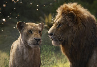 This image released by Disney shows Nala, voiced by Beyonce Knowles-Carter, left, and Simba, voiced by Donald Glover in a scene from