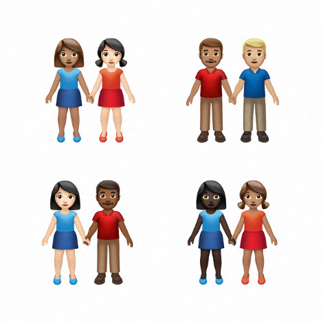 This image provided by Apple shows new emoji's released by Apple. (Apple via AP)