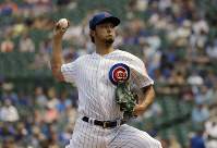Chicago Cubs starting pitcher Yu Darvish, of Japan, throws against the Cincinnati Reds during the first inning of a baseball game in Chicago, on July 17, 2019. (AP Photo/Nam Y. Huh)