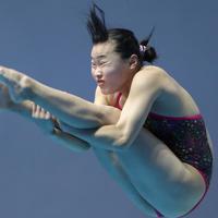 女子3メートル板飛び込み準決勝、三上紗也可の3回目の演技=韓国・光州で2019年7月19日、宮武祐希撮影