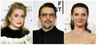 This combination photo shows actors, from left, Catherine Deneuve, Ethan Hawke and Juliette Binoche, who star in Japanese director Hirokazu Kore-eda's film 'The Truth.' (AP Photo)