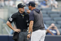 New York Yankees' manager Aaron Boone yells at home plate umpire Brennan Miller during the second inning of the first game of a baseball doubleheader against the Tampa Bay Rays on July 18, 2019, in New York. (AP Photo/Kathy Willens)