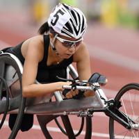 女子100メートル決勝(車いすT53)で2位に入った木山=岐阜メモリアルセンター長良川競技場で2019年7月20日、藤井達也撮影