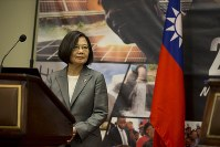 Taiwan President Tsai Ing-Wenp arrives for a press conference during her visit in Port-au-Prince, Haiti, on July 13, 2019. ( AP Photo/Dieu Nalio Chery)