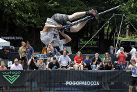 Biff Hutchison, of Burley, Idaho, performs during Pogopalooza, The World Championships of Pogo in Wilkinsburg, Pa., on July 20, 2019. (AP Photo/Gene J. Puskar)