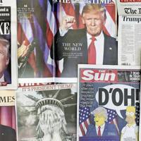 2016年米大統領選で予想外のトランプ氏の勝利を伝える英各紙=AP