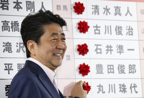 Japanese Prime Minister Shinzo Abe smiles in front of red rosettes on the names of his Liberal Democratic Party's winning candidates during ballot counting for the upper house elections at the party headquarters in Tokyo, on July 21, 2019. (AP Photo/Koji Sasahara)
