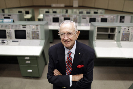 This July 5, 2011, file photo shows NASA Mission Control founder Chris Kraft in the old Mission Control at Johnson Space Center in Houston. (AP Photo/David J. Phillip)
