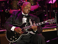 In this June 20, 2008 file photo, musician B.B. King performs at the opening night of the 87th season of the Hollywood Bowl in Los Angeles. (AP Photo/Dan Steinberg)