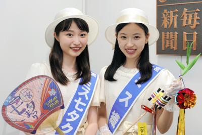 「一宮七夕まつり」への来場を呼び掛ける、ミス七夕クイーンの飯嶋彩夏さん(左)とミス織物の野田真歩さん(右)