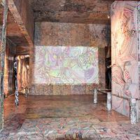川島猛氏と「ドリームフレンズ」のインスタレーション「The Space Flower・Dance・Ring(宇宙華・舞・環)」=高松市・男木島で、小川和久撮影