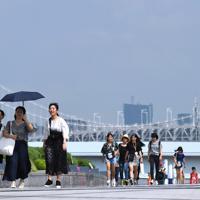 朝から強い日差しとなる中を歩く人たち=東京・台場で2019年7月29日午前9時27分、丸山博撮影