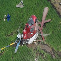 農薬散布をしていて水田に墜落したヘリコプター=茨城県筑西市で2019年7月29日午前9時44分、本社ヘリから竹内紀臣撮影