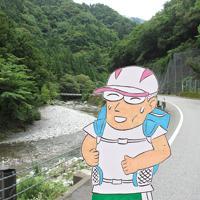 (1)山の中を「河内風穴」を目指して走る=滋賀県多賀町甲頭倉で、香取泰行撮影