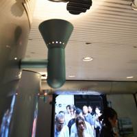 特急ソニックのデッキに描かれたミッキーのシルエット=福岡市博多区のJR博多駅で2019年7月11日午後5時50分、上入来尚撮影